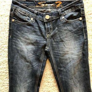 SEVEN7 Dark Wash Distressed Flare Denim Jeans